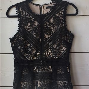 Romeo & Juliet Couture Black Lace Peplum Top